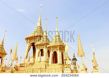 Bangkok, Thailand - November 04, 2017; The Gold Of Royal Crematorium For King Bhumibol Adulyadej In