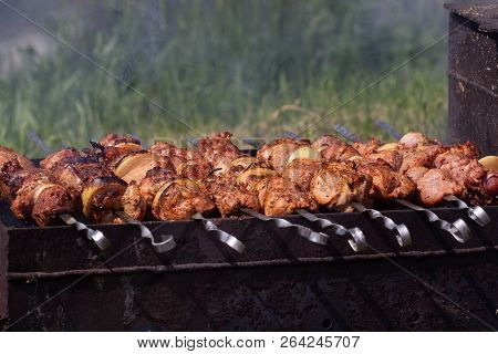 Grilled Kebab Cooking On Metal Skewer. Roasted Meat Cooked At Barbecue. Bbq Fresh Beef Meat Chop Sli