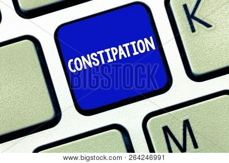 Text sign showing Constipation. Conceptual photo Bowel movements that are erratic Trouble in clearing the bowels poster