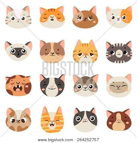 Cute Cats Faces. Happy Animals, Funny Kitten Smiling Mouth And Crying Sad Cat. Animal Character Face