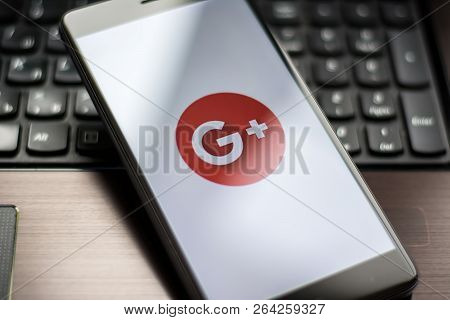 Yoshkar-ola, Russia - October 2018: Closeup Photo Of Google Plus Icon On A Mobile Phone Screen. Gmai