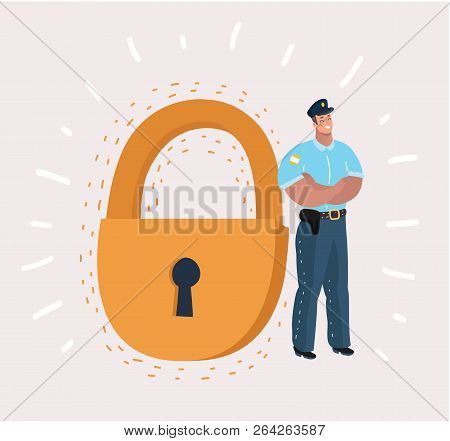 Man In Security Guard Suit Is Standing Near A Giant Padlock. Concept: Business, Security, Personal D