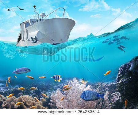 Small fishing boat in the ocean. 3D illustration.