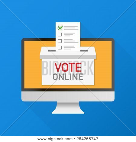 Voting Online Concept. Hand Putting Voting Paper In The Ballot Box On A Laptop Screen. Vector Stock