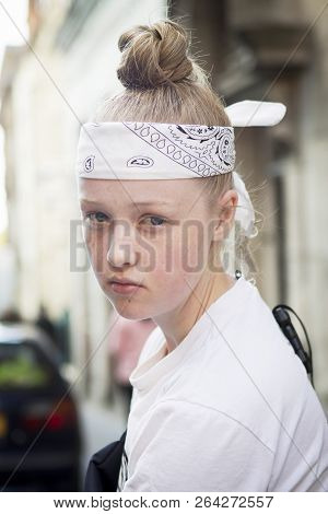 London, Uk- September 14 2018: People On The Street During The London Fashion Week. Portrait Of Youn