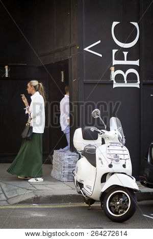 London, United Kingdom- September 14 2018: People On The Street During The London Fashion Week. Whit