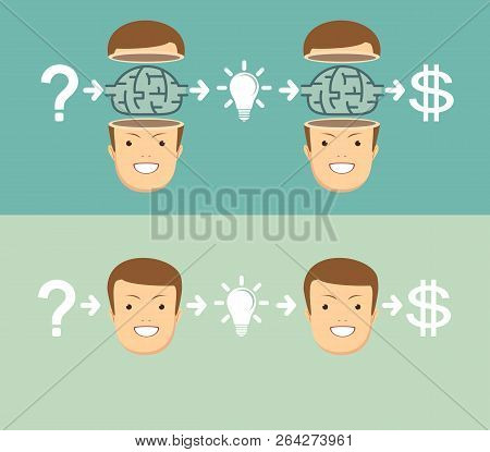 Emotional Intelligence. Side View Sequence Of A Man Thoughtful, Thinking, Finding Solution With Gear