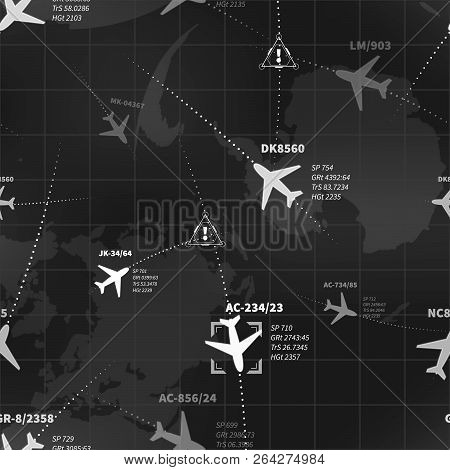 Detailed Black And White Radar Display With Planes Routes And Target Signs Seamless Pattern