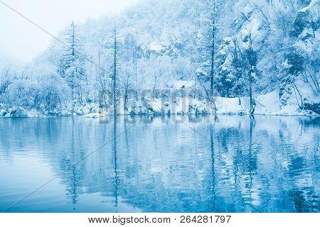 Croatia, Plitvice, Reflection Of Trees Under Snow On Lake In Nature Park Plitvicka Jezera In Winter
