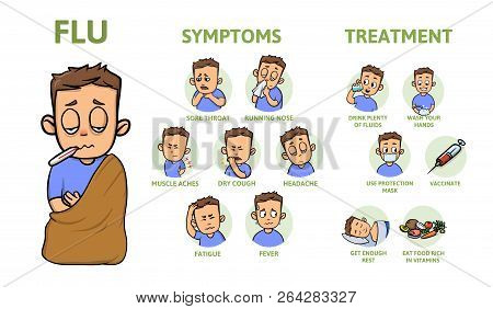 Cold And Flu Symptoms And Prevention. Signs, Symptoms, And Treatment. Information Poster With Text A