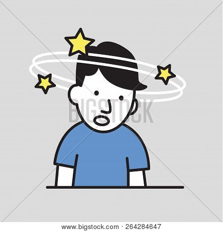 Confused boy seeing spinning stars. Loss of consciousness flat design icon. Flat vector illustration. Isolated on gray background. poster