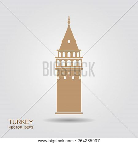 Symbol Of Istanbul And Turkey. Galata Tower Vector Flat Icon
