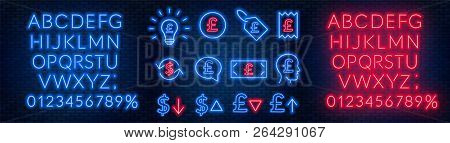 Vector Neon Financial Signs On Dark Background. Signs Of Currency Exchange, Currency Appreciation An