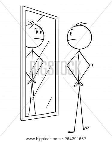 Cartoon Stick Drawing Conceptual Illustration Of Man Looking At Himself In The Mirror.