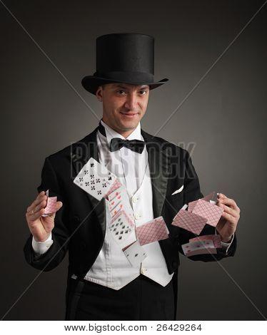cartões de malabarismos do mago