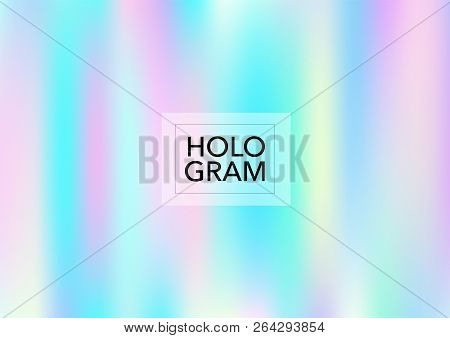 Princess Hologram Neon Vector Background. Bright Trendy Tender Pearlescent Color Overlay. Cool Funky