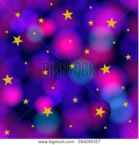 Vector Seamless Pattern: Starrs And Galaxy, Shining Background, Colorful Illustration.