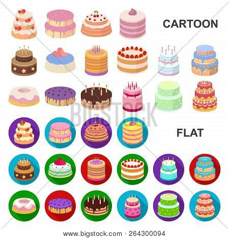 Cake And Dessert Cartoon Icons In Set Collection For Design. Holiday Cake Vector Symbol Stock Web Il