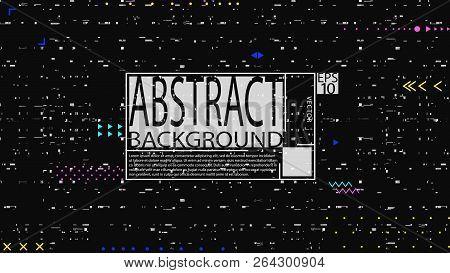 Glitch Poster Background. Banner Template. Computer Screen Error. Digital Design Concept. Pixel Nois