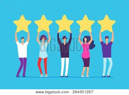 Five Stars Rating Concept. Positive Customer Review Feedback. People With Gold Stars In Hands. Busin