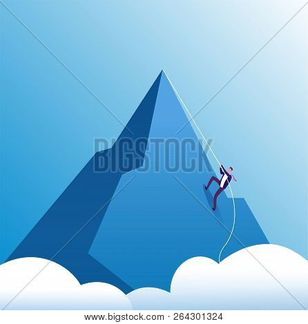 Businessman Climbing Mountain. Challenge, Perseverance And Personal Growth, Effort In Career. Busine