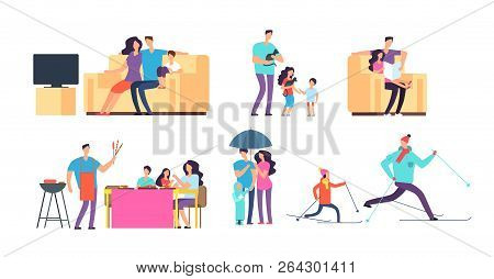 Family In Daily Activities. Mother, Father And Kids Spending Time Together At Home And Outdoor. Vect