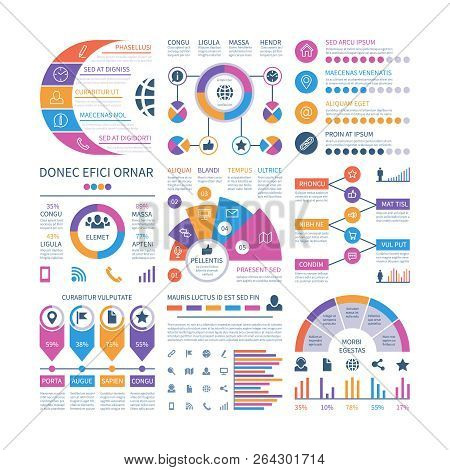 Infographic Template. Financial Investment Graphs, Process Timeline Organization Flowchart. Infograp