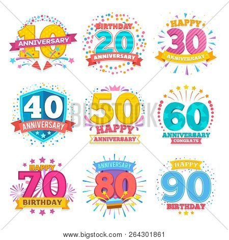 Anniversary Celebration Banners. Ribbons With Numbers Vector Set. Anniversary Celebration Emblem Num
