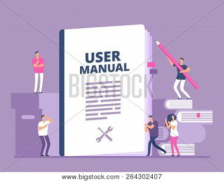 User Manual Concept. People With Guide Instruction Or Textbooks. User Reading Guidebook And Writting