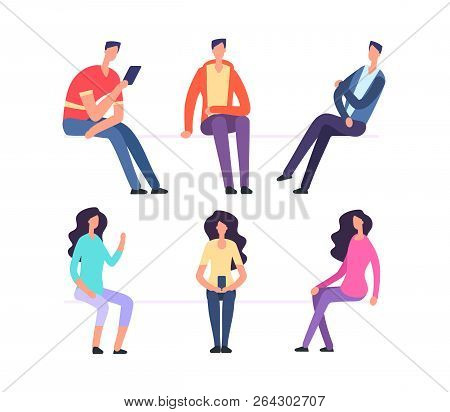 People Sitting. Girl And Boy Sit On Chairs. Cartoon Vector Characters Set. Woman And Man Sit And Wai