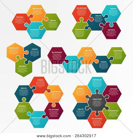 Puzzle Infographic. Optional Process, Workflow Infocharts With Puzzles. Step Business Infographic Ve