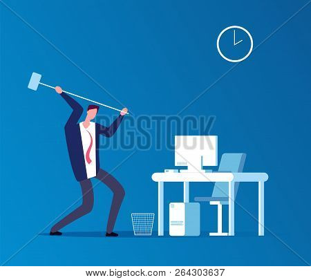 Man Crashes Computer. Frustrated Angry User With Hammer Crashing Workplace In Office. Program Proble
