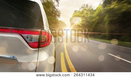 Close Up Back Of Car Is Running On Asphalt Road In Summer To Go Travel Relax In The Holiday