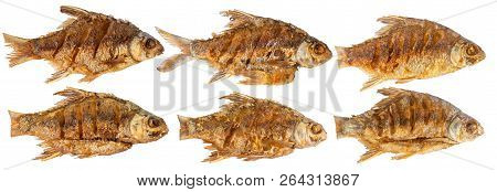 Collection Of Fish Fried Isolated On White Background With Clipping Path