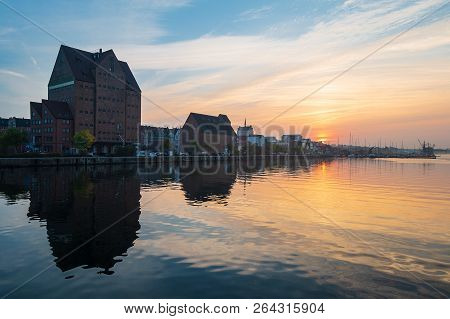 Sunset On The River Warnow In The City Rostock, Germany.