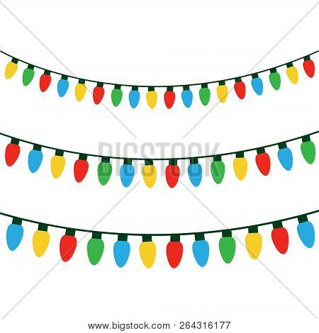 Christmas Colorful Lights On String. Colorful Xmas Light Bulbs Vector Graphic Illustration.
