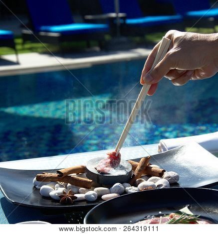 Asian Food Prepares On Blue Pool Background