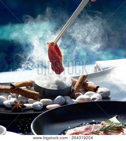 Asian  Testy Food On  Blue Pool Background