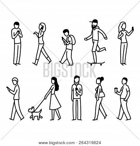 Diverse Set Of People Walking In City Street. Simple Black And White Doodle Of Pedestrians. Isolated