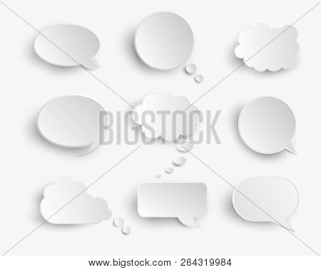 White Blank Speech Bubbles Isolated Vector Set. Infographic Design Thought Bubble On The White Backg
