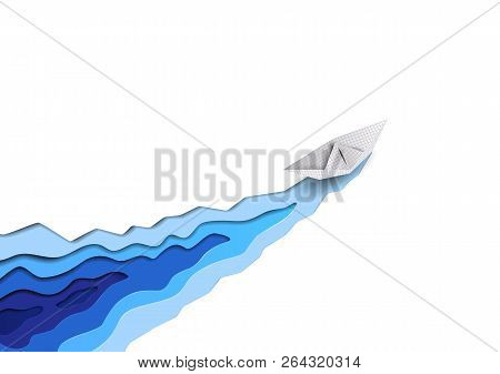 Vector Seaborne Paper Ship Cuts White Ice And Sea Blue Water Waves Like Icebreaker. Hard Working Con