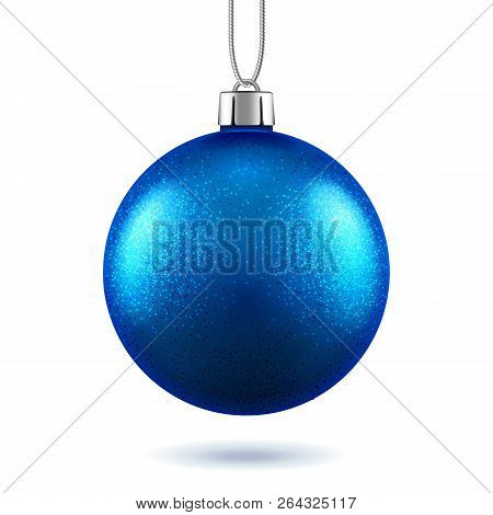 3d Blue Ball For 2019 New Year Or Glittering Christmas Realistic Toy, Scintillation Bauble With Shad