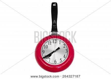 Time For Cooking Pan In Red Colors Hanging On A Wall