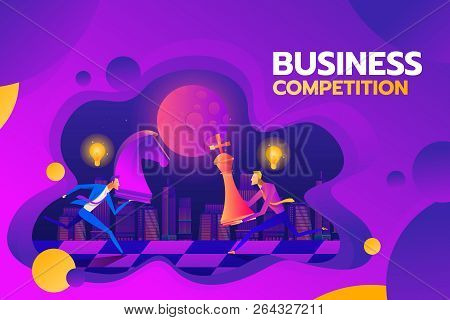 Concept Of Business Competition. Businessmen Hold Chess Pieces In Hands Of Punching As A Symbol Of R