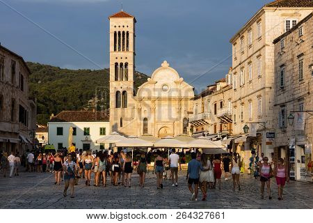 Hvar, Croatia, July 25, 2018: Cathedral Of Saint Stephen, A Roman Catholic Cathedral In The Town Of