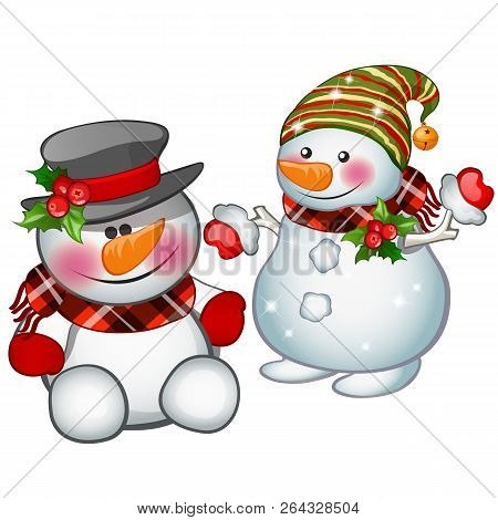 Two Smiling Snowman Wearing A Striped Cap And Tophat. Sketch For Greeting Card, Festive Poster Or Pa
