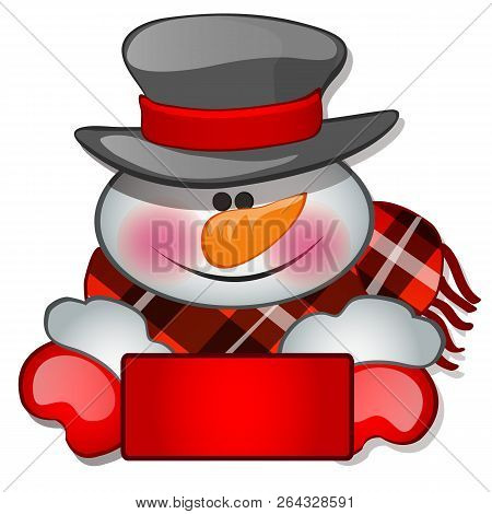 The Snowmans Head In Tophat. Sketch For Greeting Card, Festive Poster Or Party Invitations.the Attri