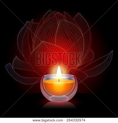 Burning Candle On The Black Background With Lotus