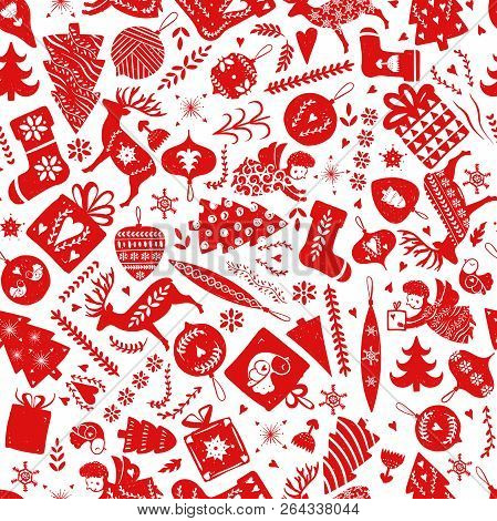 Simple Seamless Pattern With A Variety Of Elements: Christmas Trees, Snowflakes, Stars, Deer, Socks,