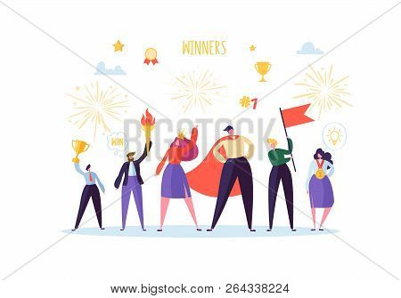 Successful Businessman With Prize. Business Success Teamwork Concept. Manager With Winning Trophy Cu
